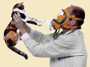 Человек в маске с кошкой