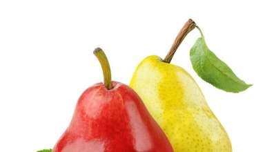 Красная и желтая груша