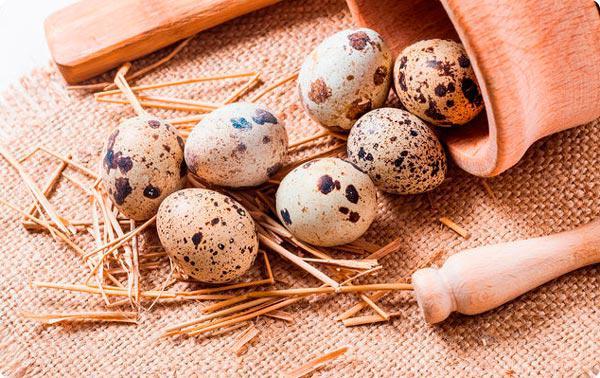 Перепелиный яйца и солома